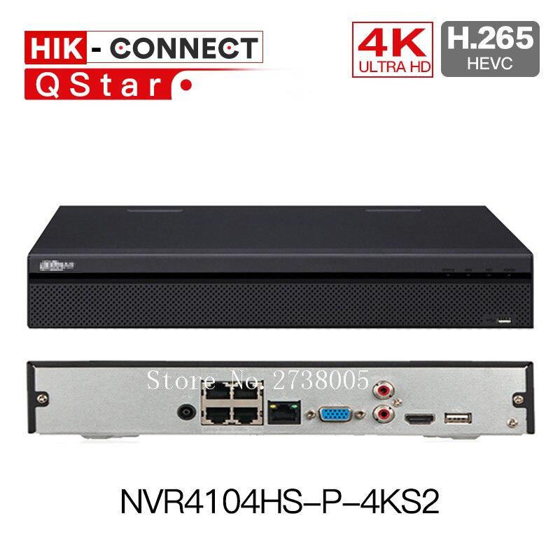 DH 4 К H.265 POE NVR NVR4104HS P 4KS2 NVR4108HS 8P 4KS2 с 4/8ch PoE Порты и разъёмы H.265 видео Регистраторы ONVIF металлический POE NVR с логотипом