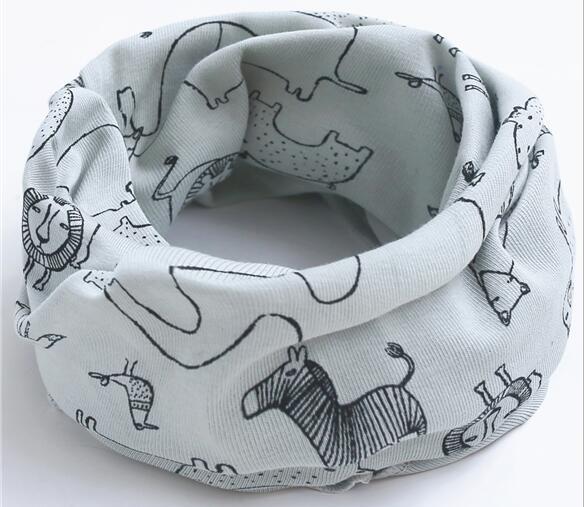 Новинка; сезон осень-зима; шарф из хлопка для девочек; Детский шарф; нагрудный шарф для мальчиков и девочек с круглым кольцом; милый детский шарф с воротником; Bufandas - Цвет: gray lion