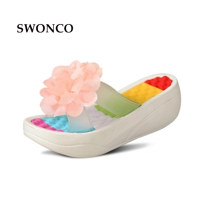 SWONCO Women's Slippers 2018 Summer Fashion Flower Thick Sole Women Shoes Woman Slippers Summer Sandals With Platform Beach Shoe swonco women s slippers half shoes candy color breathable female slipper 2018 woman slippers summer sandals ladies beach shoes