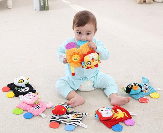 Baby Wrist Animal Soft Toy Infant Rattles Kids Hand Bell Education Toys Bells Y