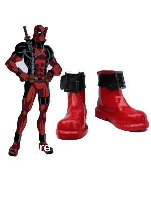 Deadpool Boots-Black & Red Buckle Deadpool Boots