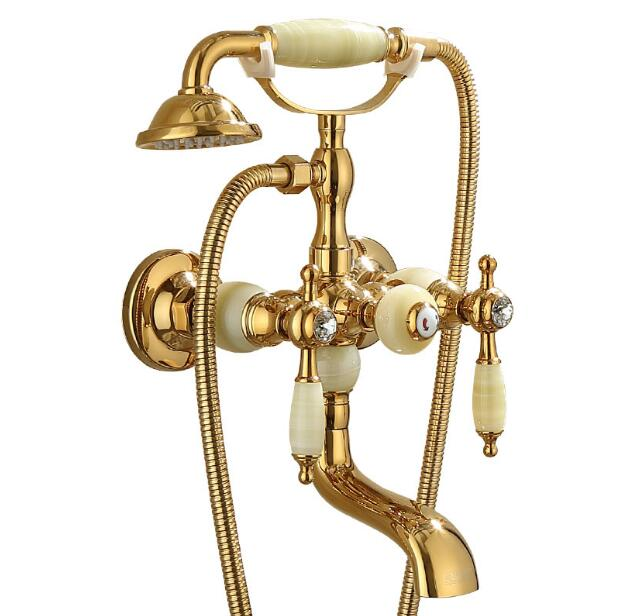 Fashion luxury high quality brass and jade gold finished wall mounted bath and shower faucet set exposed B&S faucet set fashion europe style high quality brass