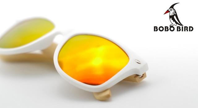 Wooden Bamboo Wayfarer Sunglasses (Yellow lens)