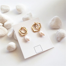 The new earrings geometric natural freshwater pearl fashion female temperament joker Beautiful delicate