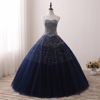 2019 темно синие Бальные платья для 15 лет спинки бисером тюль бальное платье vestidos De 15 Anos официальная вечеринка