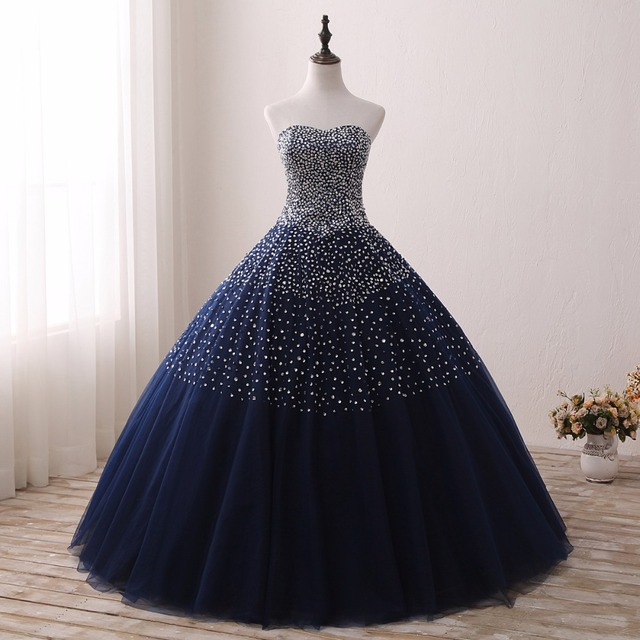 e5a4f954a7d 2019 Navy Blue Quinceanera Dresses for 15 years Backless Beaded Tulle Ball  Gown Vestidos De 15 Anos Formal Party Gown