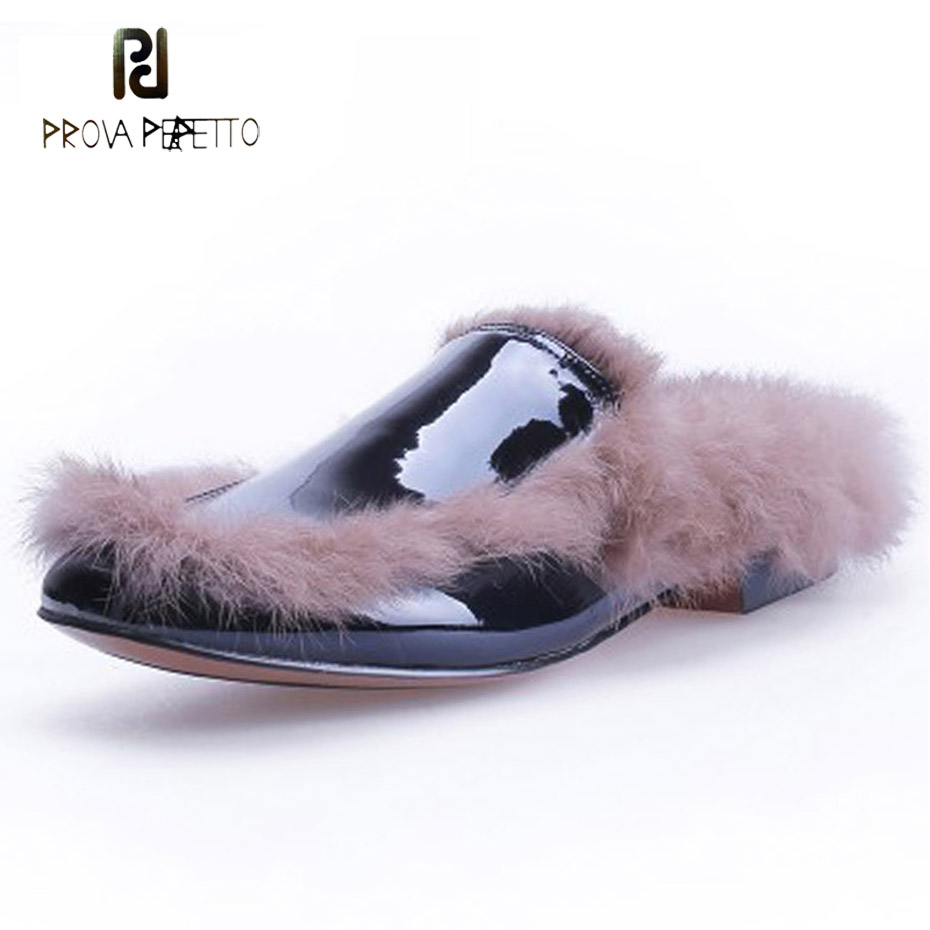 Prova Perfetto square toe real fur slipppers 2018 winter new patent leather patchwork outwear chic lazy women shoes street snap chic round lens hipsters street snap fashion black butterfly sunglasses for women