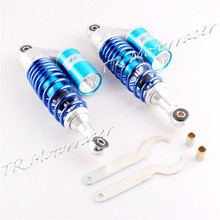 For Honda Suzuki Yamaha Kawasaki Universal 280mm A Pair 11″ Round End Hole Rear Air Shock Absorbers Blue & Silver CHALY Scooter