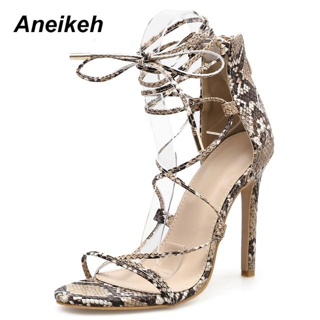 Aneikeh 2019 Narrow Band Womens Sandals Lace-up Open Toe Gladiator Thin High  Heels Sex y Summer Ladies Wedding Shoe Sandalias 580887ec86a6