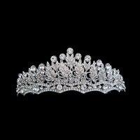 2017 nueva moda largo brazo de cristal brillante nunca se desvaneció alta calidad joyería nupcial pelo de la boda tiara de la corona