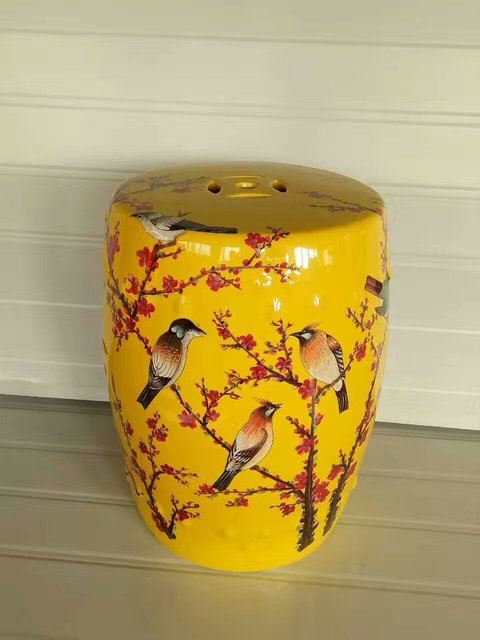 Yellow Jindezhen Dressing Ceramic Garden Stool Chinese Drum Bathroom Porcelain