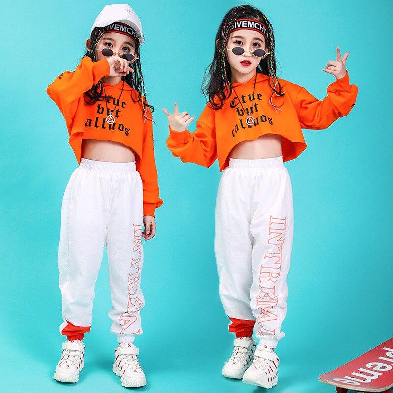 Kid Hip Hop Clothing Cropped Hoodie Sweatshirt Shirt Tops Running Casual Pants For Girl Jazz Dance Costume Wear Ballroom Clothes