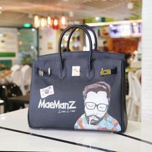 2016 new Pure hand-drawn graffiti platinum hit coloration giant bag cowhide leather-based bag transportable feminine bag Graffiti bag