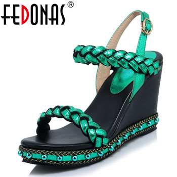 FEDONAS 2019 Summer New Fashion Sweet Round Toe Women Wedges Rivet Decoration Women Sandals Genuine Leather Party Shoes Woman