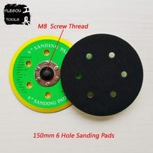 """Almohadilla de lijado de 6 agujeros de 150mm, disco de pulido de 6 """", placa de pulido de 6 agujeros, rosca de tornillo de disco de molienda M8, 2 piezas"""