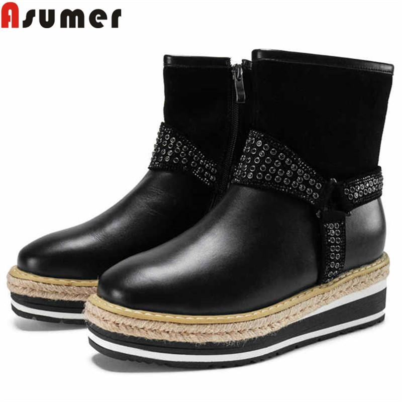 ASUMER 2019 new ankle boots for women round toe zip stretch fabric+cow leather boots flat platform shoes autumn winter bootsASUMER 2019 new ankle boots for women round toe zip stretch fabric+cow leather boots flat platform shoes autumn winter boots