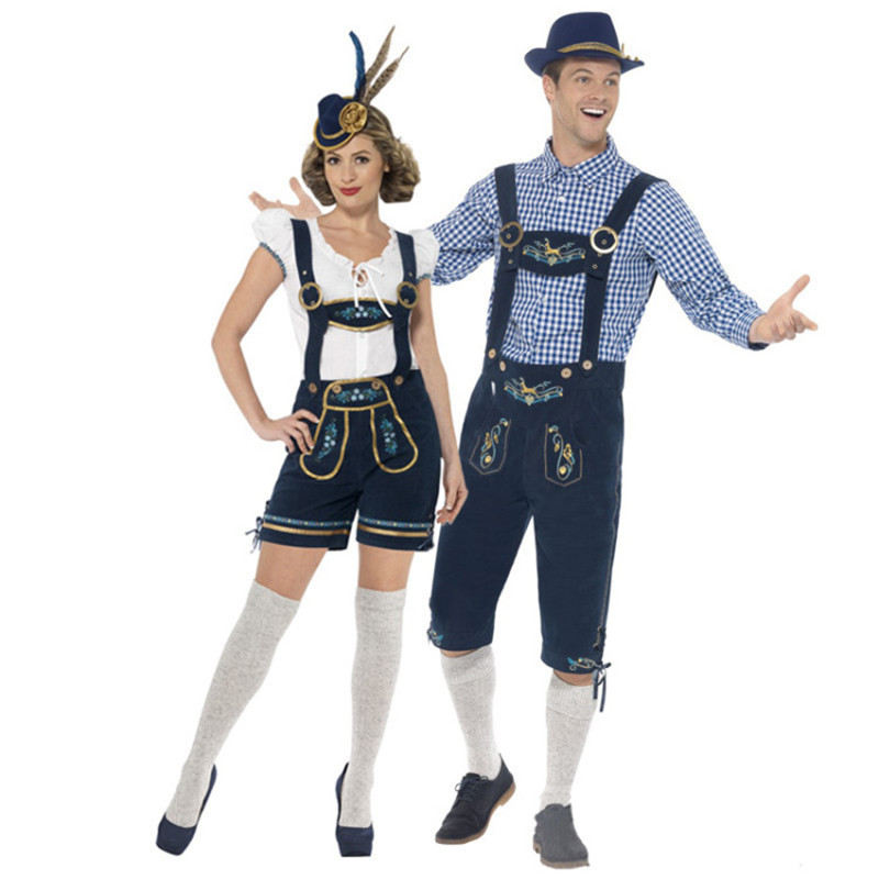 Deluxe German Oktoberfest Costume Lederhosen Bavarian Beer Featival Man Woman Bar Maid Outfit Couple Costumes