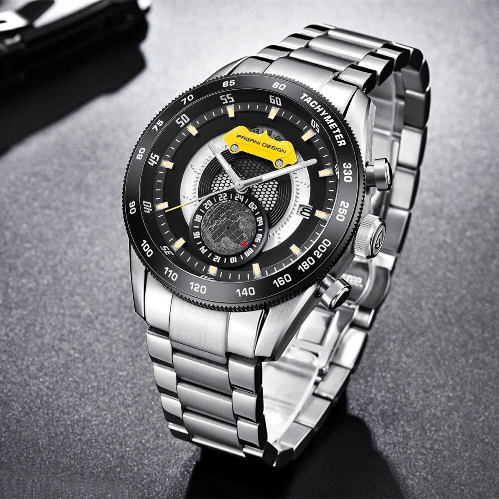 2018 nowe Top marka PAGANI projekt chronografu zegarki sportowe męskie zegarki ze stali nierdzewnej wodoodporny zegarek kwarcowy zegary Relogio Masculino w Zegarki kwarcowe od Zegarki na  Grupa 3