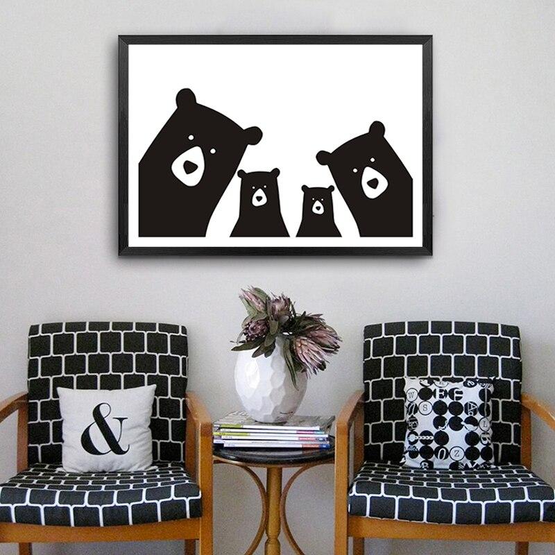 3 83 40 De Réduction Mignon Ours Famille Animal Toile Peinture Noir Blanc Dessin Animé Affiche Imprimer Nordique Mur Photo Art Pépinière Enfants
