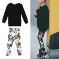 Fashion Girl Black T-shirt + Digital Print Pants Suit Long Sleeve Loose Style