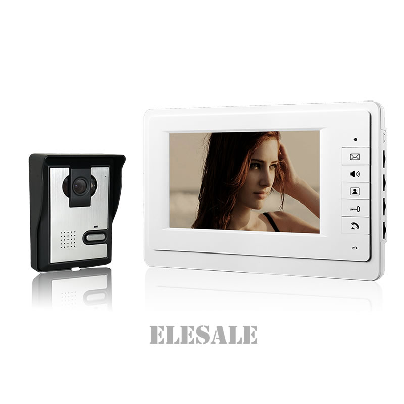 New Wired Door Intercom Video Phone Doorbell 7 Color LCD White Monitor 700TVL Camera Night Vision For Home Security