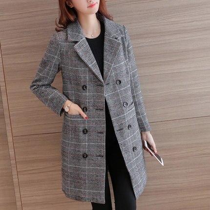 Photo Section Femmes Automne Longue Laine Mince Mélangé Tb18709 Manteau Haute De Color Et Coréen Qualité Épaississement Hiver Tissu Treillis gwqTSxY8F