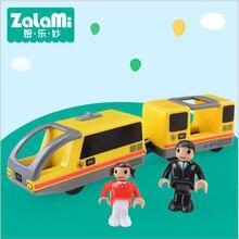 ZALAMI Openbare trein B voor kinderen Kinderen speelgoed Houten spoor elektrische trein Set bouwstenen baan Model Gift