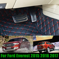 No Drilling Gas Fuel Brake Foot Pedal Cover For Ford Everest 2015 2016 2017 AT Stainless Steel Pedal Sticker