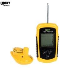 Frete grátis! manual russo! Lucky FFW1108 1 portátil 100m sem fio peixe localizador alarme 40m/130ft sonar profundidade oceano rio