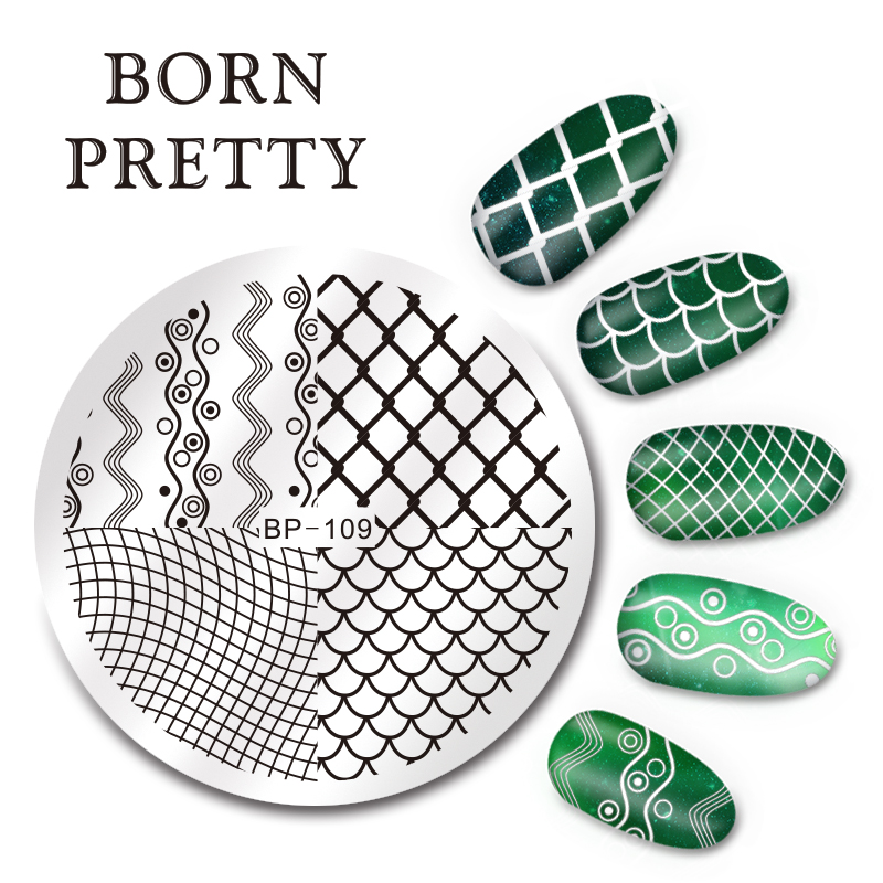 BORN PRETTY 5.5cm Round Nail Art Stamp Template Wave Line Net Design Image Plate BP-109