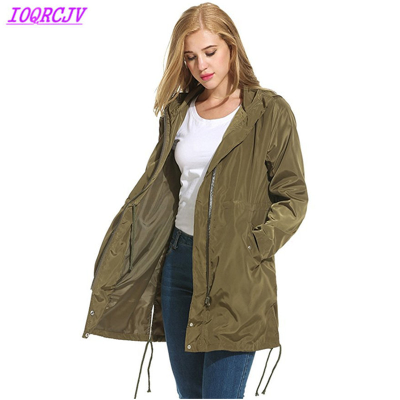 Trench   coat for women 2018 spring autumn Windproof waterproof raincoat coat Plus size Hooded Windbreaker female tops IOQRCJVH481