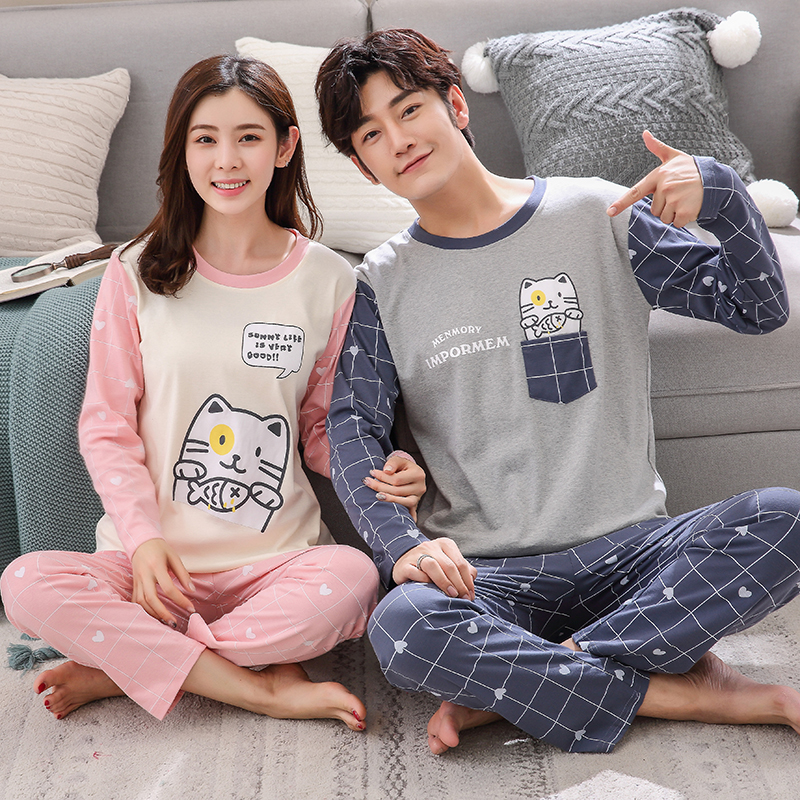 Autumn Winter Couple Pyjamas Cotton Pj Pajamas Set Women Cartoon Sleepwear Pajama Sets Pijamas Mujer Girl Pyjamas Home Clothing