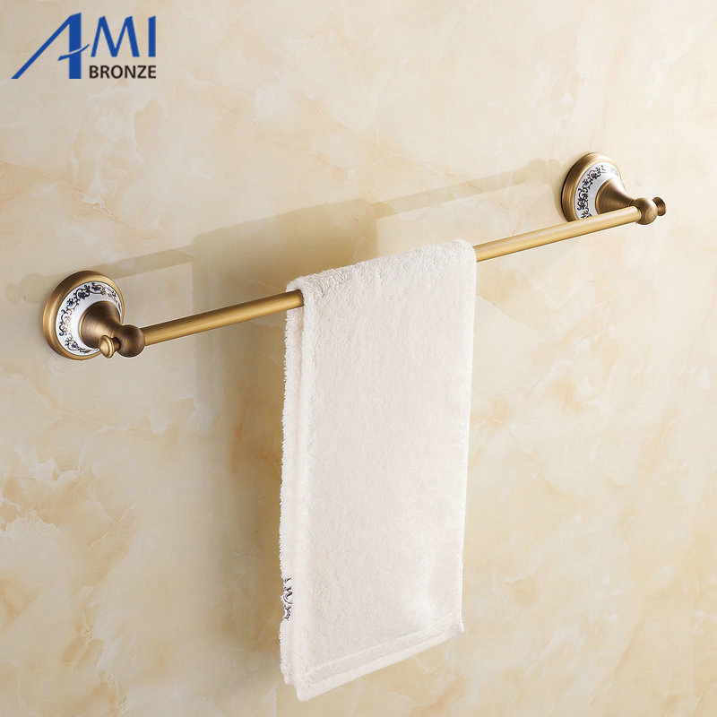 AP1 Series Antique Brass Towel Bars Wall Mounted Bathroom Accessories Single Towel Bar Towel Rack Porcelain base bathroom shelves wall mounted towel rack bars bath towel carved holder 2 tier brass bathroom accessories towel tack ssl s22