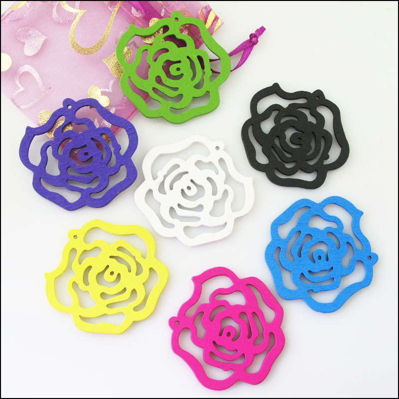 New 10Pcs Mixed Craft Wood Wooden Rose Flower Charms Pendants 48x50mm