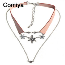 Comiya Leather Crystal Flower Double Chain multilayer flowers Collar Choke necklaces pendants women bijuteria collier Vintage