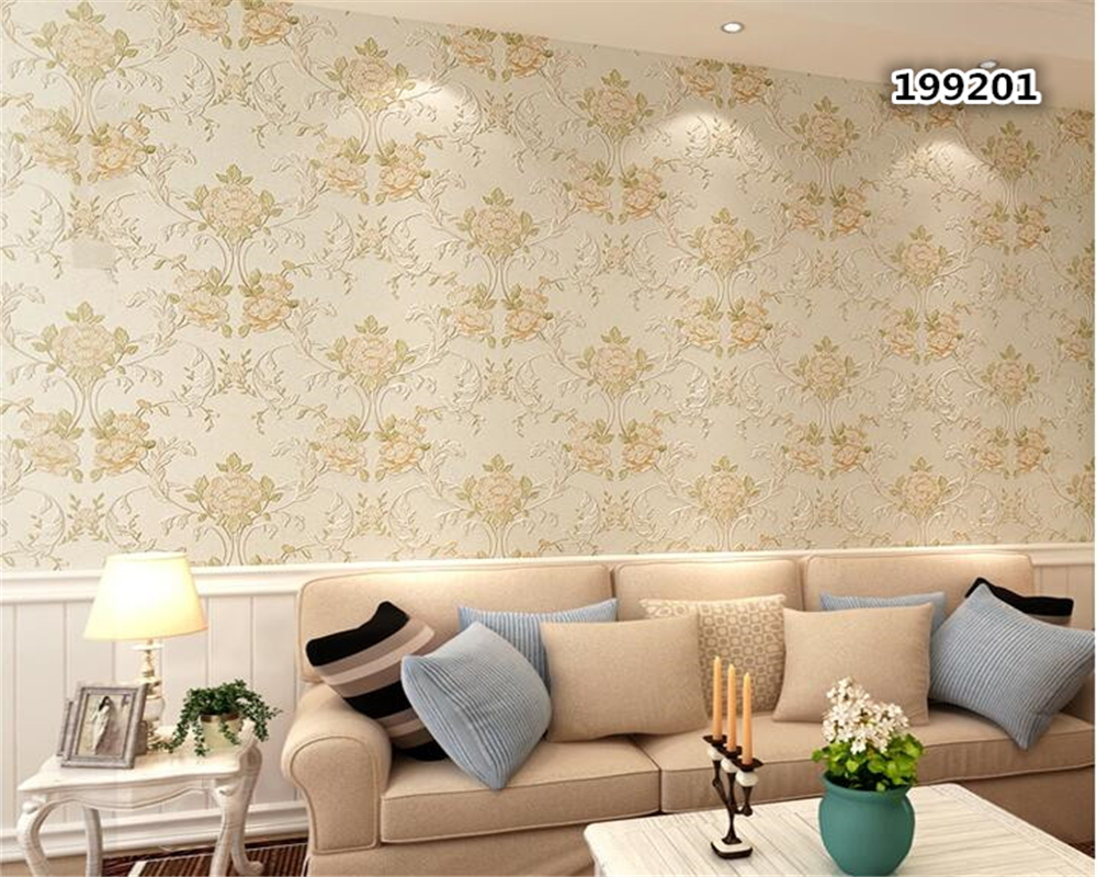 beibehang Non-woven fabric wallpaper American rural field garden big flower 3D stereo relief bedroom living room TV background beibehang european luxury fine imitation embroidery non woven garden garden flowers 3d three dimensional relief wallpaper