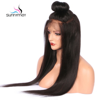 Sunnymay Glueless Brazilian Virgin Full Lace Human Hair Wigs Natural Hairline Black Straight Wigs For Black