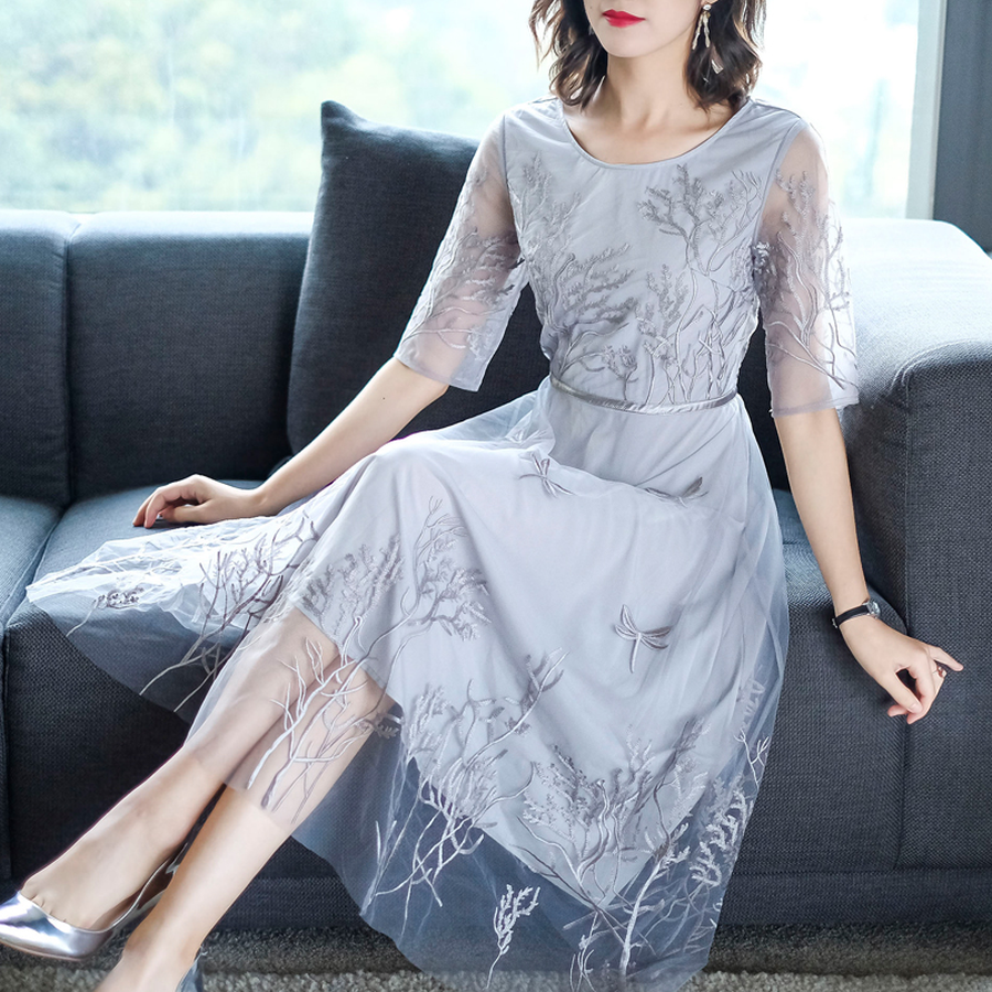 2019 Vintage Solid Embroidery Silk Beach Midi Dress Summer 3XL Plus Size Gray Mesh Sundress Women Elegant Bodycon Party Vestidos in Dresses from Women 39 s Clothing