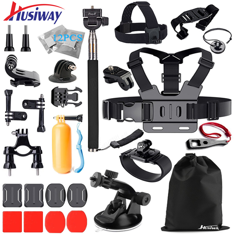 Husiway Accessories Kit for Gopro Hero 5 Session Sport Action Camera Xiaomi Yi 4K Sony Accessory Bundle Most Complete Set with EVA Carry Case for Go pro 4 Campark Xiaoyi Hero 7 6 Black