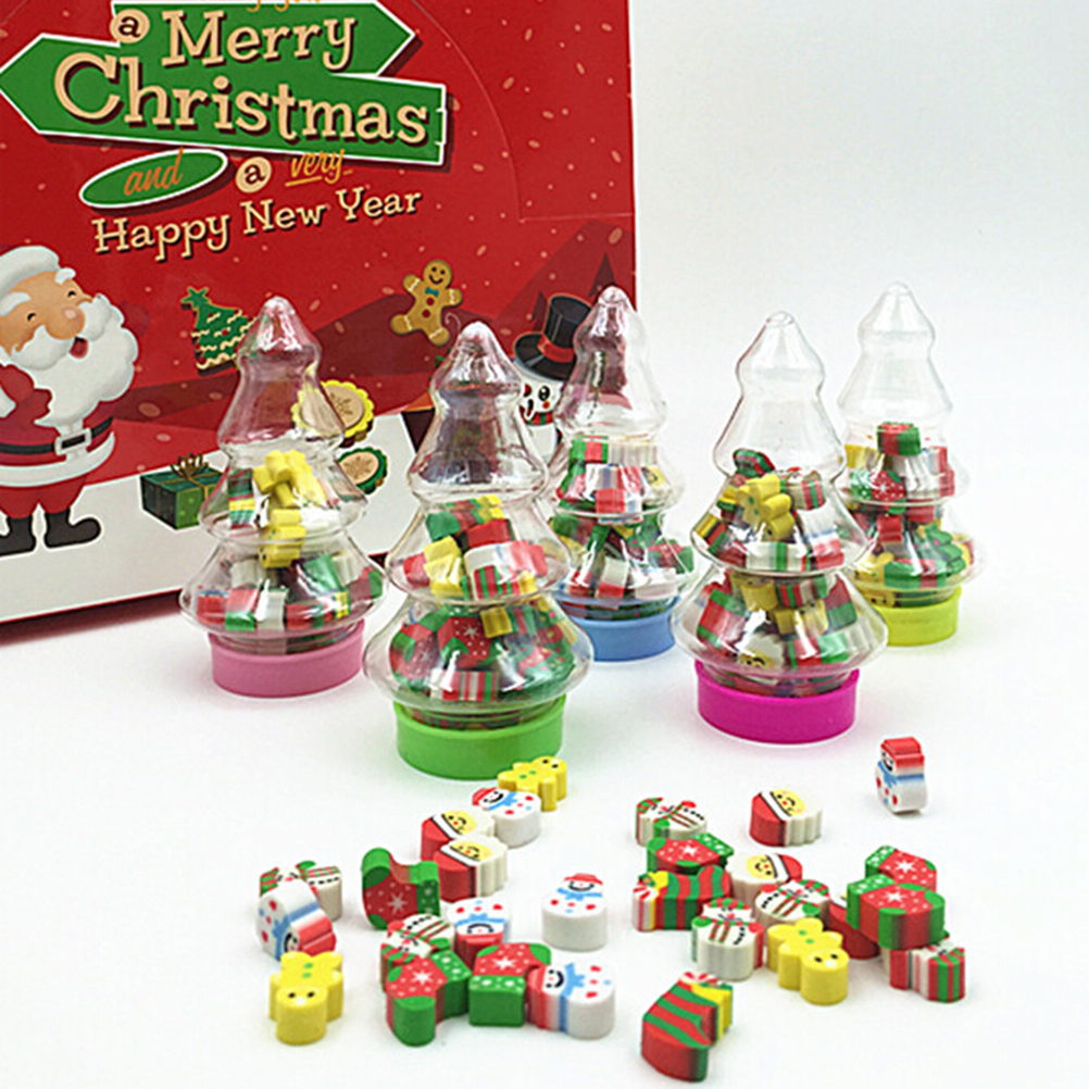 Christmas Gift Santa Tree Mini Eraser Kawaii Designer Students Stationery School Supplies Papelaria Gift For Kids Size:9x3.3CM