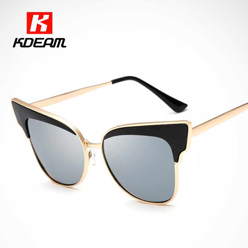 KDEAM Brand Gold Rim Cat Eye Sunglasses Women Design Of Butterfly Shades Shopping Anti-Reflective Sun Glasses UV400 With Case