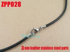 """Image 3 - (16 """" 38"""") 20 piezas 3mm negro cuero Real collar Acero inoxidable accesorios joyería DIY ZPP028"""