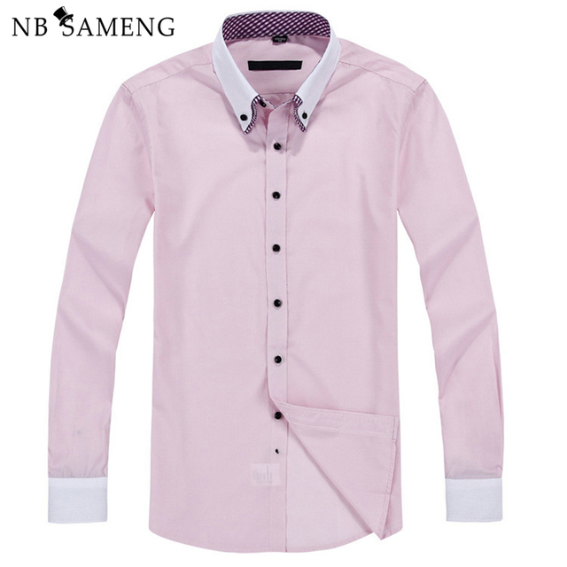 2016 New Double Collar Long Sleeve Mens Dress Shirts Solid Business Men Shirt Spring Summer Mens Top Free Shipping 13M0593