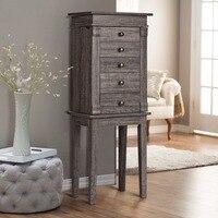 Giantex Standing Jewelry Cabinet Storage Organizer Wood Legs Mirror&5 Drawers Christmas Home Furniture HW59534