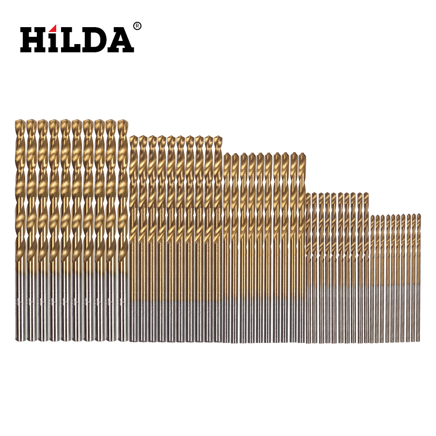HILDA Twist Drill Bits Set 50Pcs/Set Saw Set HSS High Steel Titanium Coated Drill For Woodworking Tool 1/1.5/2/2.5/3mm For Metal 50pcs set twist drill bit set saw set 1 1 5 2 2 5 3mm hss high steel titanium coated woodworking wood tool drilling for metal