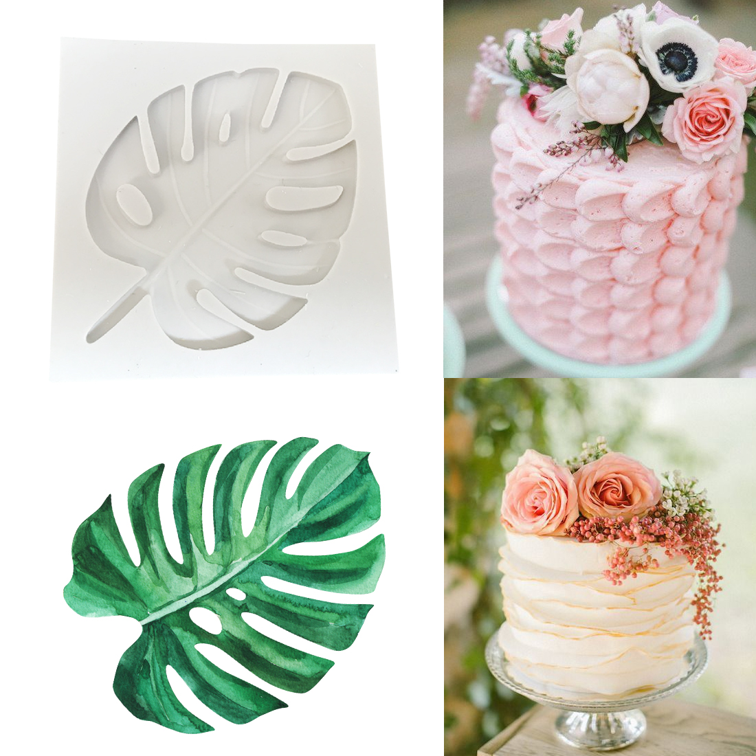 Silicone Form 1PC Cake Mold Leaves Shape Birthday Chocolate Soap Moulds Cake Decorating Tools Kitchen Cake Baking Stencils
