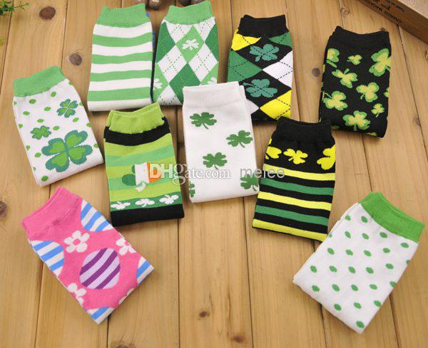 5d7cb10a303b0 ST PATRICK's DAY (Clover) SHAMROCK Baby Leggings GREEN & WHITE STRIPES ST  PATRICK DAY - Baby Leg Warmers 24pair/lot