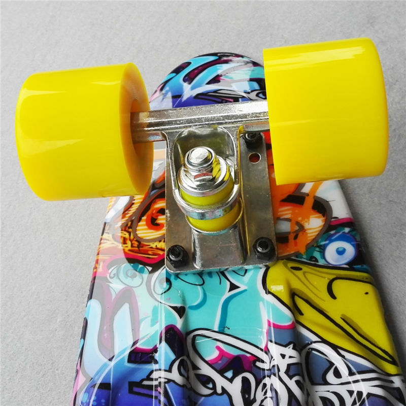 Image 3 - Colorful 22 Inch complete banana board With Color mixed pattern for Girl and boy to Enjoy the skateboarding Mini rocket board-in Skate Board from Sports & Entertainment