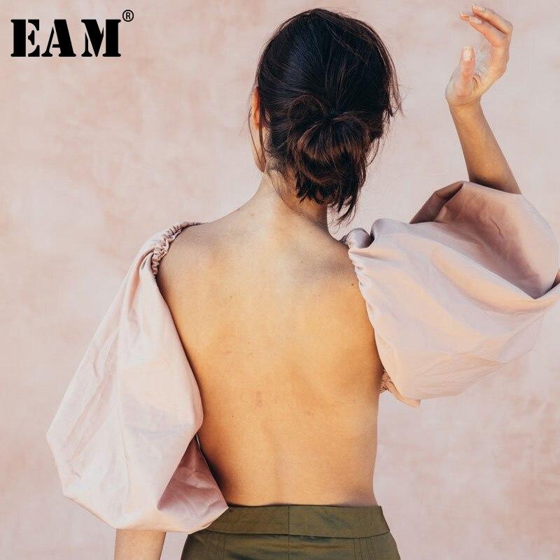 [EAM] 2020 New Spring Summer Lapel Long Lantern Sleeve Backless Split Joint Short Sexy Shirt Women Blouse Fashion Tide JW883