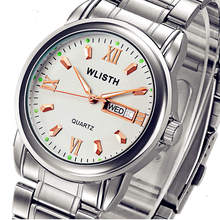 WLISTH  Full Stainless Steel Week English Display Date Mens Quartz Watch Casual Business Watches Men Wristwatches